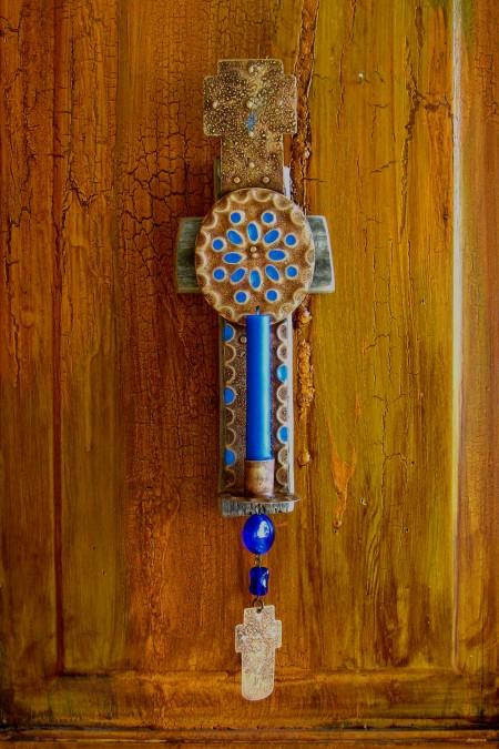 Barn Wood Candle Cross