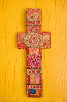 Faux Gold Leaf Cross (L)