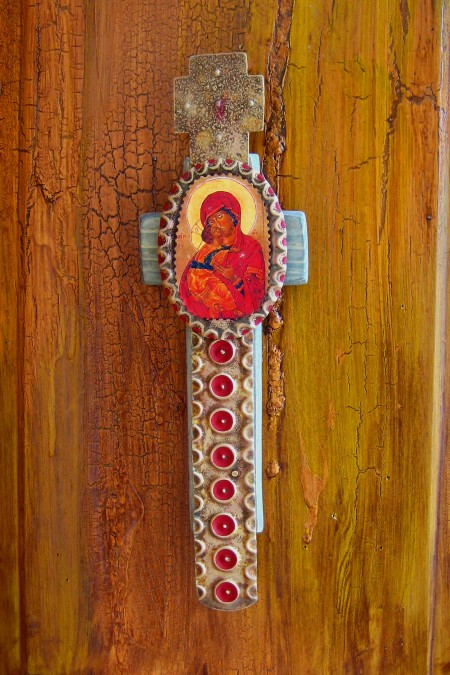 Madonna and Child Barn Wood Cross