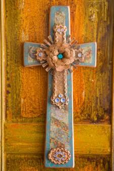 Square Bottom Sunburst Retablo Cross