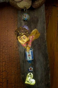 Pink Cherub Driftwood Cross #2