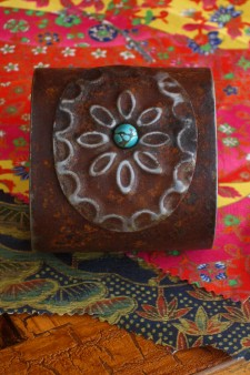 Wide Medallion Turquoise Ranch Style Cuff