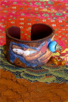 Tuscan-Imaged Turquoise and Amber Accented Cuff