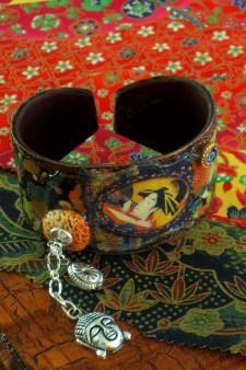 Asian Themed Blackplate and Leather Cuff