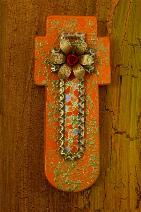 Gold Fiber Cut Wood Suspended Cross