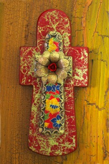 Gold Fiber Stone Cut Wood Stone Cross
