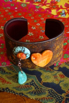 Spiny Oyster Turquoise Heart Cuff A