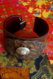 Sterling Button Ranch Style Cuff B